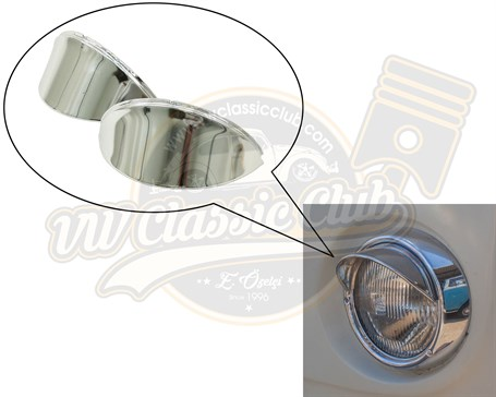 Headlight Eyebrows Stainless Steel (Pair) (1300-1302-1303-T2-Karmann Ghia-Variant)
