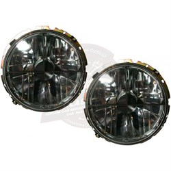 Complete Headlight Black Crossed Crystal
