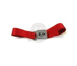 Front Seat Belt 2 Point Inertia with Chrome Buckle and Red Webbing