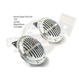 Horn 12V Super Tone Set Jumbo 155mm Chrome (1100-1200-1300-1302-1303-T1-T2-Karmann-Type3)