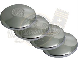 VW Chrome Hub Cap Set with Emblem (4 Pieces) (1300-1302-1303-T2)