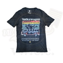 VW Licensed Black Camper T1 T-Shirt